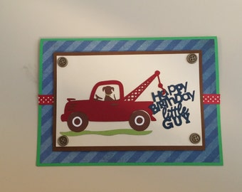 first birthday truck card