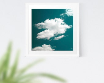 Teal Sky and White Cloud Photography, Dreamy Shabby Chic Cloud Art Print, Gift for Her, Housewarming Gift,  Nursery Wall Art, Giclee Prints