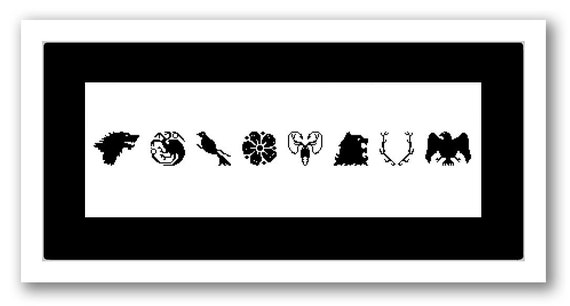 Game of Thrones Cross Stitch Chart Pattern - Sigils - Houses Stark Targaryan Baelish Tyrell Greyjoy Lannister Baratheon Arryn Nights Watch