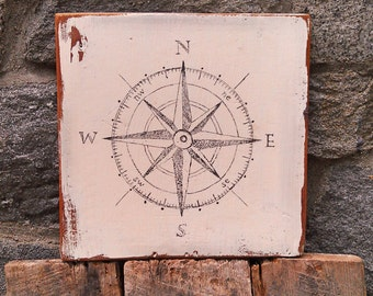 Vintage Nautical Compass sign on salvaged barn wood hand-painted rustic distressed painting