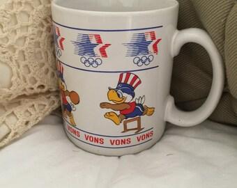 Eagle Mug, Olympics, Summer Olympics, Coffee Mug, Sam Olympic Eagle, Vons Grocery, 1982 Olympics, Mug, Stars in Motion, Vintage, Collectible