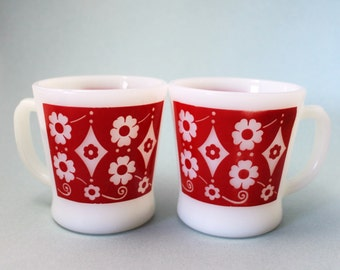 Rare Anchor Hocking/Fire King Mugs, Rare Design, Red Mugs