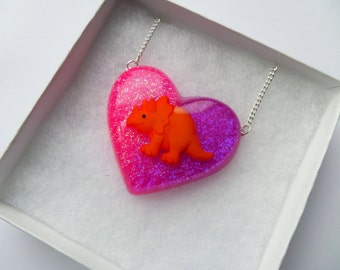 Baby Dinosaur Resin Heart Shaped Necklace Glittery Pendant Pink Purple Orange triceratops Cute Kitsch Kawaii Jewellery