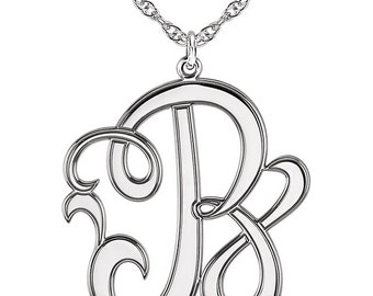 Elegant Solid 14k White Gold 22mm Single Letter Script Cursive Monogram Necklace All Letters A-Z, 16 or 18 Inches Available