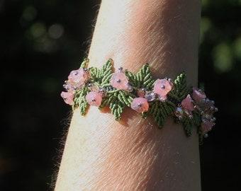 Pastel Pink Flower Beaded Micro Macrame Bracelet