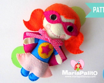 Superhero Pattern, Felt Super Girl Doll pattern, toy sewing pattern, A1172