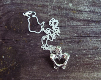 Anatomical Pelvis Pendant Necklace - 925 Sterling Silver