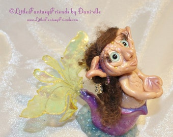 SALE Dorothy Ugly Troll Mermaid Collectible OOAK Sculpture Figurine Ocean Cute Purple Yellow Blue Creature LittleFantasyFriends by Dani-elle