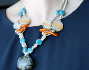 "Parure necklace linen, watercolor and ceramic + earrings ""Bosphorus"". Necklace and earrings Bohemian chic"