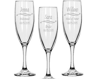 Bridesmaids Champagne Glasses / Personalized Wedding Glasses / Engraved / Custom / 16 DESIGNS / Select ANY Quantity