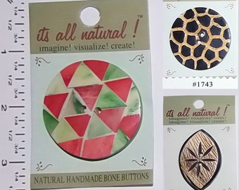 Vision Trims Handmade Natural  Bone Horn Buttons - 3 styles ASSORTMENT - CLEARANCE