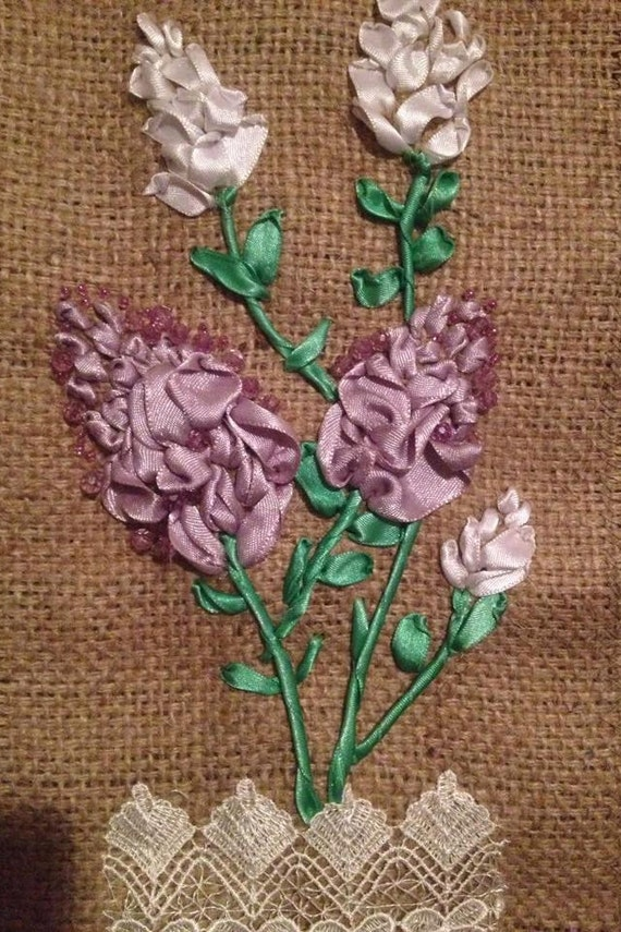 Items similar to ribbon embroidery wall hanging