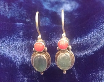 90s Dual Gemstone Nepali Earrings