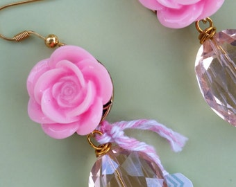 Whimsical Pink Flower Dangle Earrings