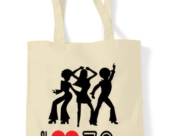 I Love 1970's Cotton Tote Shopping Bag