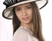 FREE SHIPPING! Cream wide brim hat, Asymmetric wide-brim hat, Kentucky derby hat, Wedding hat, Tea Party hat, Ascot hat, 20's style hat