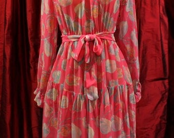 Silk CREPE dress - 1970's