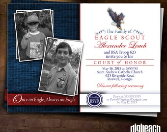 Eagle Scout Court of Honor Invitation: Eagle Family Then and Now - Digital File
