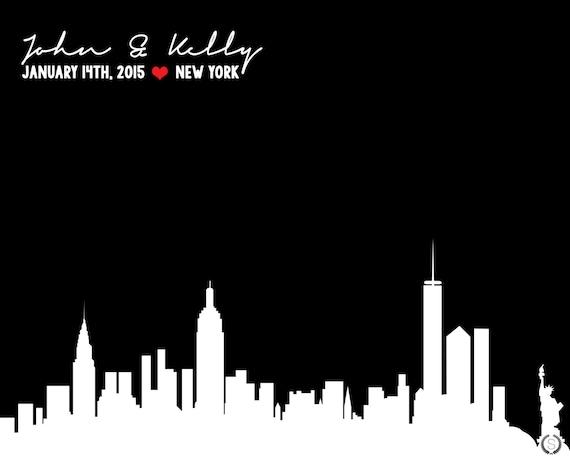 New York Skyline Wedding Gift NYC Skyline Wedding Gift New York ...