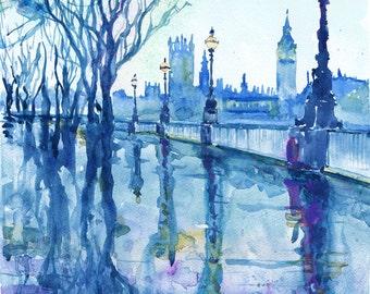London , watercolor painting, rain in the city , british décor, art print, Illustration, Cityscapes, Wanderlust, big ben, rainbow, blue