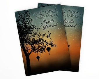 Asian Wedding Invitation with Lanterns and Sunset • Printable Chinese Wedding Invites  with Chinese Lanterns and Tree for Oriental Wedding