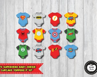 6x superhero baby tags baby shower favors by redapplestudio