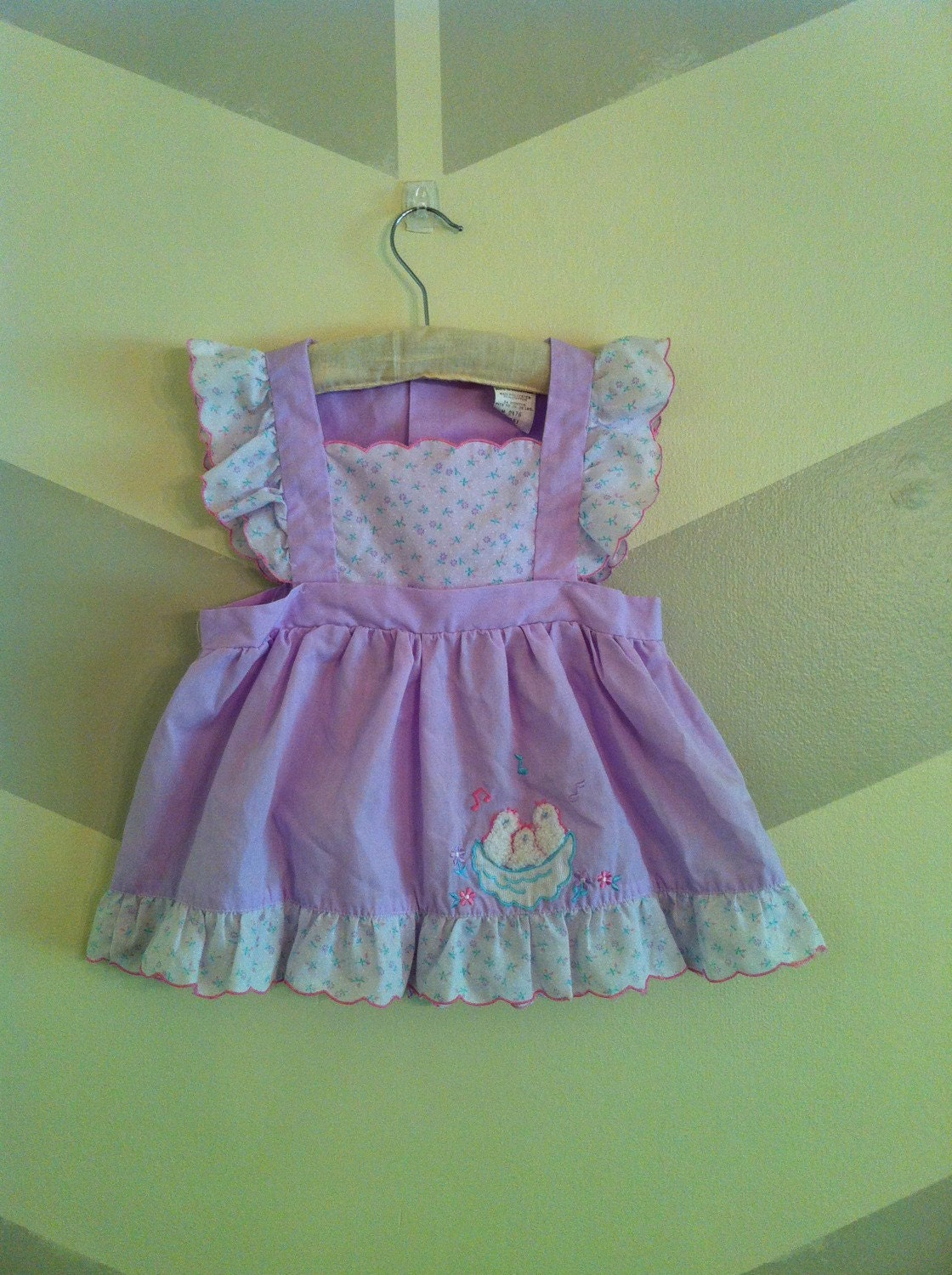 Vintage Baby Girl Clothes Mayfair Purple Ruffle Apron Dress