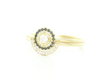 Wedding Diamond Set - Diamond Gold Set - 14k Diamond Ring