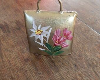 Vintage Hand-Painted Cow Bell from Samnaun, Switzerland