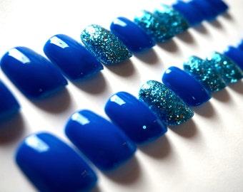 Bright Blue Nails- Sparkly Blue Accent Nail- Fake/False Nails- Acrylic Nails- Press On Nails- Hand Painted