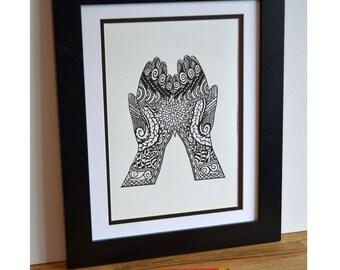 Mehndi hands print