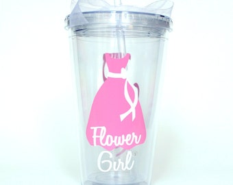 Personalized Flower Girl Tumbler - Wedding Party Favor, Bridal Party Gift  - 16 oz Tumbler