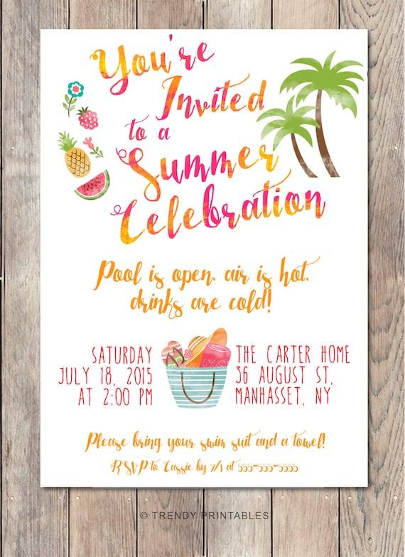 Pool Party Invitation Summer Party Invitation Back Yard