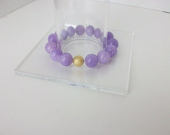 Gemstone Beaded Bracelet Lilac Jade Beaded Bracelet Beaded Gemstone Stretch Bracelet Purple Jade Stacking Bracelet Gemstone Stacking B0162