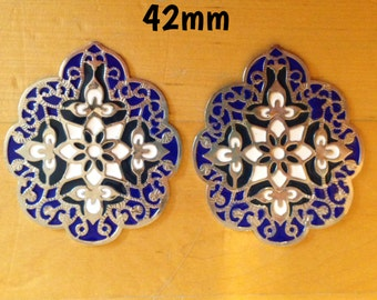 42mm ornate decorative blue, white and silver plugs for stretched ears