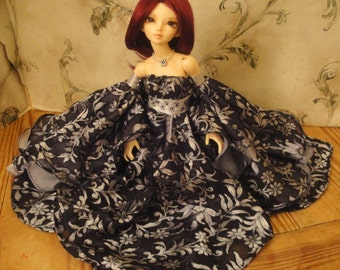 Dark Court: Moonlight Maid Gown for minifee, mini super dollfie, kid delf, Iplehouse JID and similar BJD girls