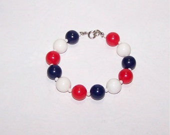Red, White & Blue Bead Bracelet - Red / White / Blue - Patriotic, USA, France, UK