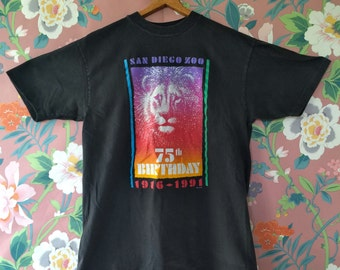 Vintage 90s San Diego Zoo T Shirt / 75th Birthday / Lion Tee / Made in the USA / Size Large
