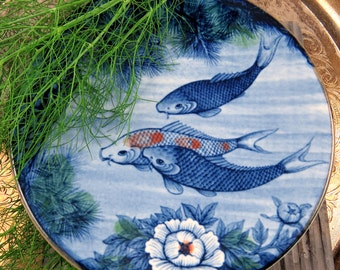 Vintage Koi Fish Plate, Asian Decor, Blue Fish Plate, Home Decor Accent