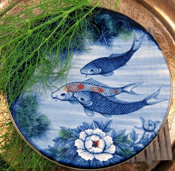 Vintage koi fish plate asian decor blue by blueroomvintageshop for Koi fish home decor