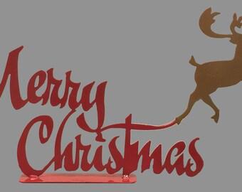 Metal Merry Christmas Reindeer Decoration