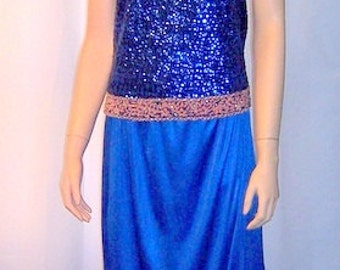1960's Royal Blue Sequinned and Beaded Sleeveless Top and Matching Long Skirt Ensemble
