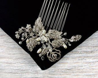 Pearl Hair Comb, Crystal Bridal Hair Comb, Wedding Hair Comb, Bridal Headpiece, Leaf Hair Comb, Silver Hair Comb, Flower Hair Comb