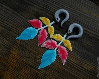 Colorful leaf dangling hook gauges,hook dangle gauges,size 4,5,6,8,10,12,14,16,18,20 mm,6g,4g,2g,0g,00g,3/16,1/4,1/2,5/16,9/16,5/8,3/4,7/8""