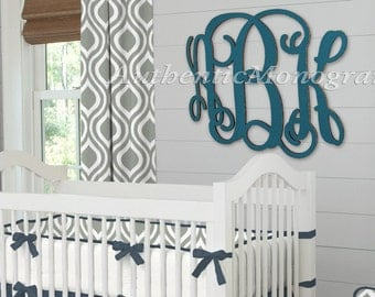 24 Inch Wooden Nursery Monogram - Unpainted Vine Script Monogram - Home Decor Initial (110124