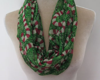 Candy Cane Print Infinity Loop Scarf Christmas Xmas Gift for Her