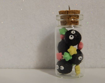 Studio Ghibli Inspired Soot Sprites and Candies in a Glass Bottle, Polymer Clay Glass Bottle