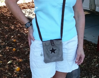Crossbody bag jeans, purse handmade, jeans messenger bag, recycled jeans, repurposed jeans, jeans purse, cell phone carrier, travel bag  D34
