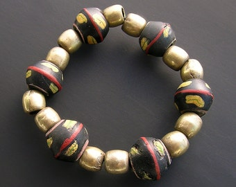 Bracelet made with antique venetian glass beads and old brass beads