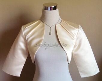 Light Gold / Champagne Satin Bolero Pleated Neck Fully Lined - UK 4-26/US 1-22 Shrug/Cropped Jacket/Wrap/Shawl/Stole/Tippet
